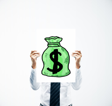 creative money: Businessman hands holding poster with creative green money bag sketch. Financial growth concept
