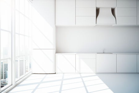 front view: Creative white kitchen interior with white floor and panoramic city view. 3D Rendering