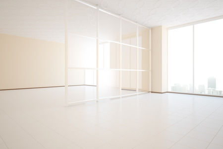 unfurnished: Bright unfurnished beige room design with glass partition and window with city view. Side view, 3D Rendering