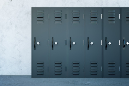side keys: Close up of grey lockers in school corridor with concrete walls and floor. 3D Rendering
