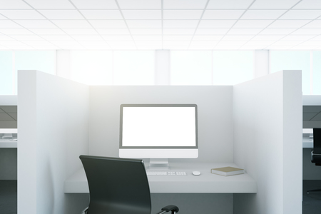 screen partition: Close up of office workplace with blank pc screen. Mock up, 3D Rendering