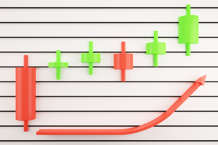charting: Chart arrow and other items on light background. Japanese candlestick charting analysis concept Stock Photo