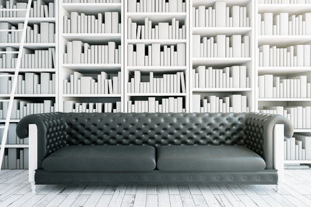 leather sofa: Front view of black leather sofa on bookshelves and ladder background. Library concept. 3D Rendering Stock Photo