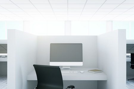 screen partition: Close up of office workplace with blank computer monitor. Mock up, 3D Rendering Stock Photo