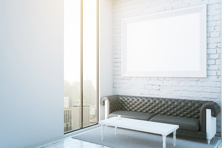 side table: Side view of luxurius white brick room with wooden floor, carpet, leather couch, coffee table, blank picture frame and city view. Mock up, 3D Rendering
