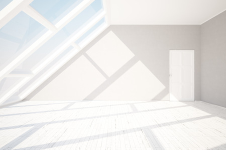loft: Side view of loft interior with blank wall, wooden floor, white door, window with sky view and daylight. Mock up, 3D Rendering