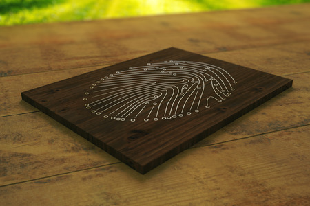 fingermark: Close up of wooden board with abstract fingerprint placed on desktop. Security concept. 3D Rendering Stock Photo