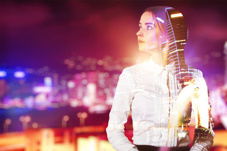 night shirt: Thoughtful young woman on bright city background. Double exposure Stock Photo