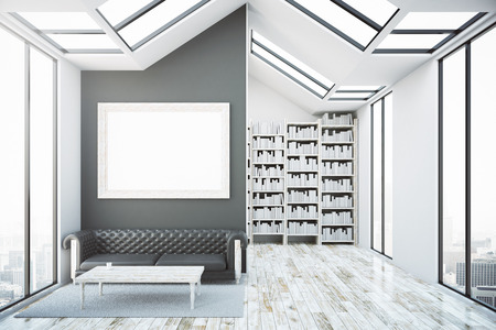 leather sofa: Creative bright interior with blank picture frame, luxurious brown leather sofa, coffee table, bookshelves and city view. Modern library concept. Mock up, 3D Rendering