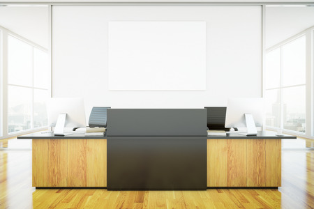 desk light: Light wooden reception desk and blank banner in interior with city view. Mock up, 3D Rendering