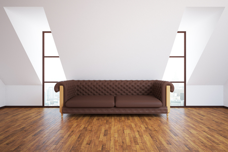 leather sofa: Front view of modern interior with brown leather sofa, wooden floor and city view. 3D Rendering Stock Photo