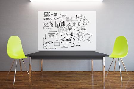 silla de madera: Interior con el esquema de negocios creativo, mesa y dos sillas amarillas modernas. el concepto de éxito. Representación 3D Foto de archivo