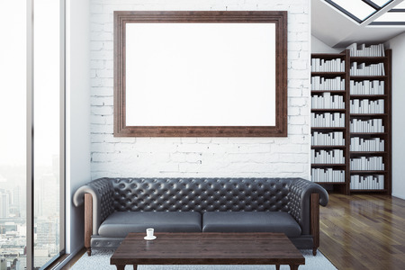 leather sofa: Creative room with blank picture frame, luxurious brown leather sofa, coffee table, bookshelves and city view. Modern library concept. Mock up, 3D Rendering