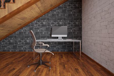 staircase: Workplace with blank computer screen under wooden staircase on black brick wall background. 3D Rendering Stock Photo