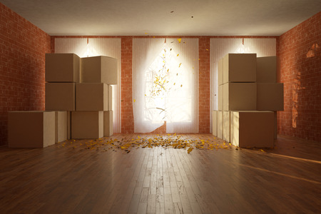 unpacking: Front view of red brick room with cardboard boxes, daylight and wind with autumn leaves blowing from window. Moving concept. 3D Rendering Stock Photo