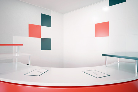 counter service: Close up of red reception desk. 3D Rendering Stock Photo