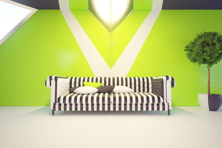 frontview: Modern green interior with comfortable patterned sofa and plant. 3D Rendering