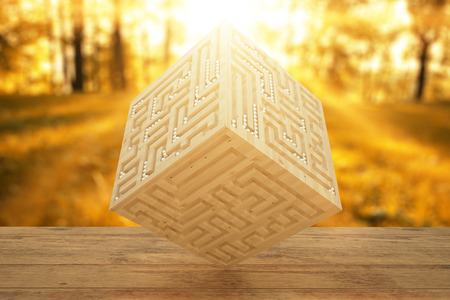 Abstract light wooden cube with engraved maze on autumn forest background. 3D Rendering