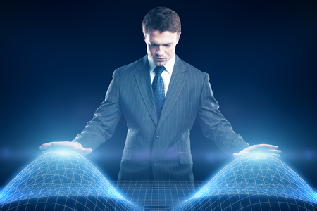 Young businessman controlling abstract digital waves on blue background. Technology concept