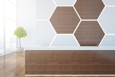 waiting area: Wooden reception desk with honeycomb pattern on wall, decorative plant and city view. 3D Rendering