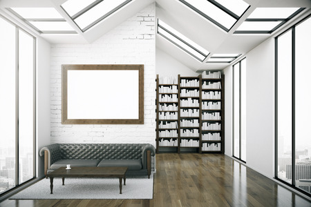 leather sofa: Creative loft interior with blank picture frame, luxurious brown leather sofa, coffee table, bookshelves and city view. Modern library concept. Mock up, 3D Rendering