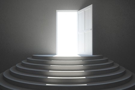 heaven: Abstract concrete interior with stairs and open door with bright light. Success concept Stock Photo