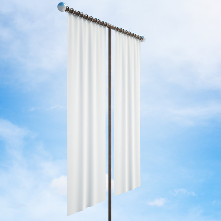 white cloth: Side view of white cloth banner on bright blue sky background. Mock up, 3D Rendering