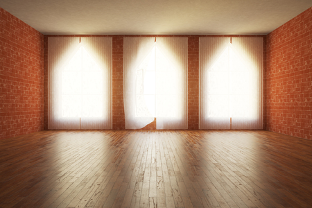 unfurnished: Front view of unfurnished red brick interior with wooden floor and triangular windows wuith curtains. 3D Rendering Stock Photo