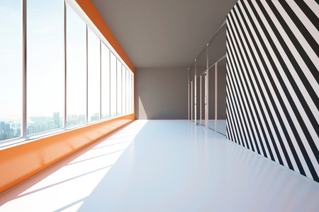 Decoratie Interieur Corridor : Modern corridor interior with rows of decorative plants and