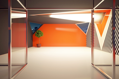 Modern orange interior with decirative plant and lamp behind glass doors. 3D Rendering