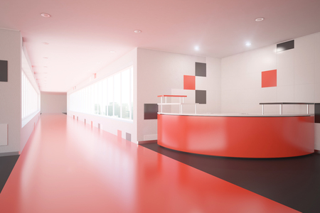 modern office interior: Modern red interior design with reception desk. Office lobby. 3D Rendering
