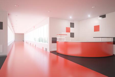 reception desk: Modern red interior design with reception desk. Office lobby. 3D Rendering