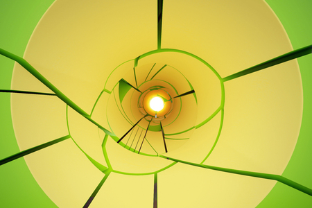 Abstract shattered yellow tunnel. 3D Rendering