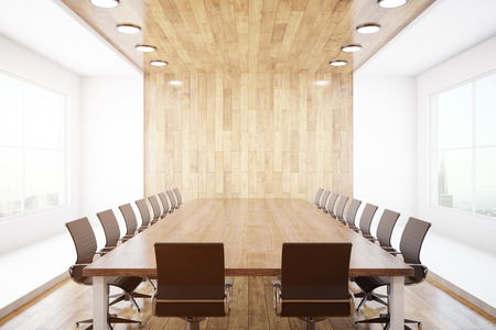 Modern conference interior with blank wooden wall, equipment and city view. Mock up, 3D Rendering Stock Photo