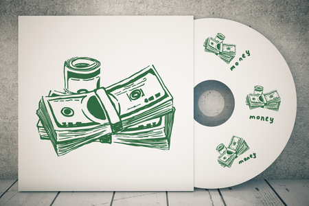 creative money: Close up of CD cover with creative dollar bills sketch. Money concept. 3D Rendering Stock Photo