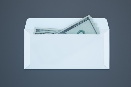 bribery: Dollar banknotes inside white envelope on dark grey background. Bribery and corruption concept. 3D Rendering Stock Photo
