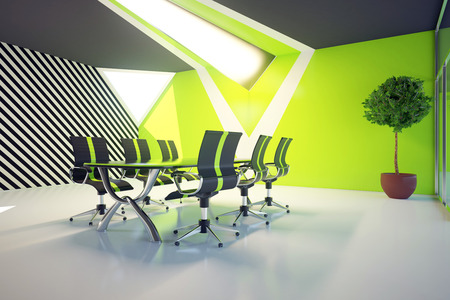 board room: Modern green conference roon interior with equipment and daylight. 3D Rendering