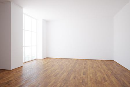 sideview: Side view of empty unfurnished interior with wooden floor, city view and daylight. 3D Rendering Stock Photo