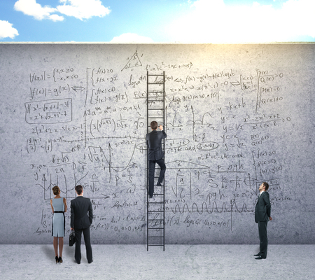 theorem: Back view of businesspeople climbing ladder and looking at concrete wall with mathematical formulas. Education and science concept