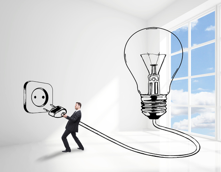 plugging: Man plugging abstract drawn lamp in bright white interior with sky view. Great idea concept. 3D Rendering