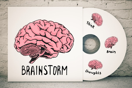 neuro: Close up of CD cover with creative human brain sketch on brick background. Brainstorm concept. 3D Rendering