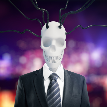 Abstract skull in suit with connected wires on blurry background. 3D Rendering