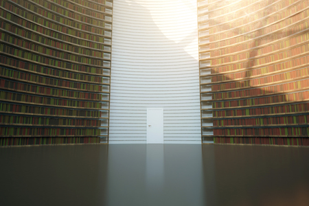 Abstract Interior With Bookshelf Walls And Door Knoweldge Concept 3D Rendering Stock Photo