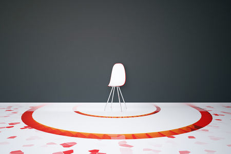 Modern chair in the middle of interior with red pattern on floor and dark concrete wall. 3D Rendering