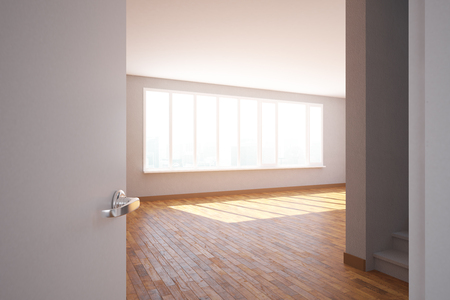 unfurnished: Side view of unfurnished room interior with wooden, floor, staircase and daylight. 3D Rendering