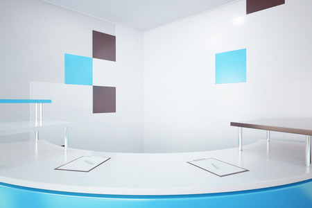 reservation: Close up of blue reception desk. 3D Rendering
