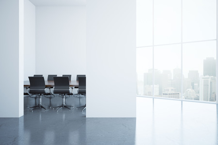 Modern conference room interior with blank concrete wall and city view. Mock up, 3D Rendering