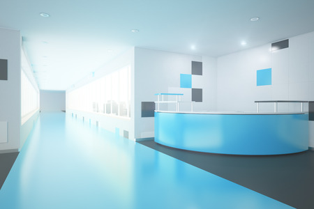 modern office interior: Modern blue interior with reception desk. Office lobby. 3D Rendering