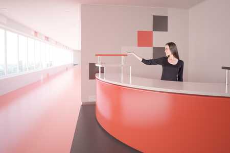 Side view of modern red interior with attractive young woman at reception desk showing something. 3D Rendering