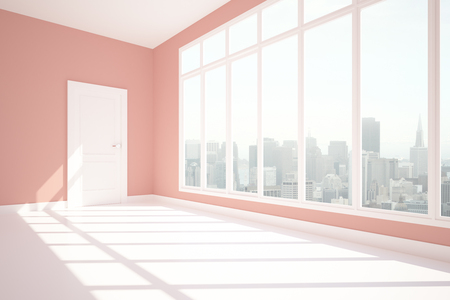 unfurnished: Side view of unfurnished pink interior with city view and daylight. 3D Rendering
